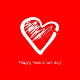 vektor Hjärta på en röd bakgrund på valentin Royaltyfria Foton