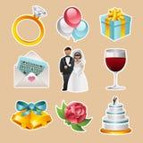 Vektor-Hochzeits-Ikonen Lizenzfreie Stockbilder