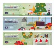 Vektor-horizontale Fahnen mit frohe Weihnacht-und guten Rutsch ins Neue Jahr-Innenraum Stockfoto