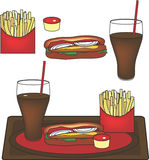 Vektor-Hotdog-Platte Lizenzfreie Stockfotos
