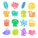 Vektor-Ikonen eingestellt von den Aquarell-Karikatur-Gegenständen und Lizenzfreie Stockbilder