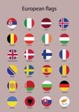 Vektor-Ikonen mit allen europäischen Flaggen Lizenzfreies Stockbild