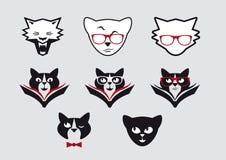 Vektor-Ikonen von Smiley Cat Faces Lizenzfreies Stockbild