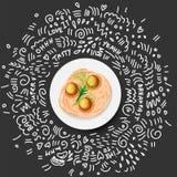 Vektor-Ikonenillustration von Teigwaren in der Platte Italienische Teigwaren mit mit Grüns und Fleischklöschen in der weißen Plat stock abbildung