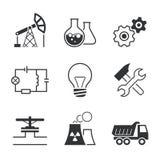 Vektor-Ikonensatz der Industrie einfacher Lizenzfreie Stockfotos