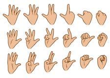 Vektor-Ikonensatz der Karikatur weiße menschliche Handgroßer vektor abbildung