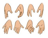Vektor-Ikonensatz der Karikatur weiße menschliche Handgroßer lizenzfreie abbildung