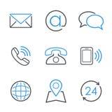 Vektor-Ikonensatz der Kontakte einfacher