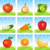 Vektor-Ikonensatz Gemüse und Früchte auf szenischem Landschaftshintergrund vektor abbildung