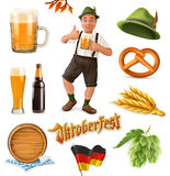 Vektor-Ikonensatz München-Bier-Festival Oktoberfest 3d Lustiges Karikatur charact Lizenzfreie Stockfotografie