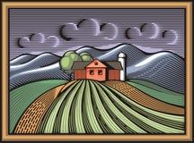 Vektor-Illustration der biologischen Landwirtschaft in der Holzschnitt-Art Lizenzfreie Stockfotos