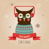 Vektor-Illustration der Eule, frohe Weihnacht-Karte Stockbild
