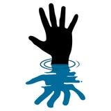 Vektor-Illustration der Hand auf weißem Hintergrund Stockbilder