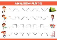 Vektor-Illustration der Handschrifts-Übung lizenzfreie abbildung