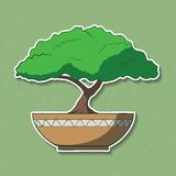 Vektor-Illustration des bunten Papierbonsaibaums. Stockfoto