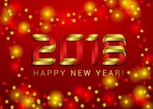 Vektor-Illustration des guten Rutsch ins Neue Jahr-2018 auf glänzendem rotem Hintergrund mit Zahl 3d, helle Girlande Feiertags-De Lizenzfreies Stockfoto