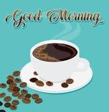 Vektor-Illustration des guter Morgen-Kaffees mit Kaffeebohnen stock abbildung