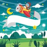 Vektor-Illustration des Kinderfliegen-Flugzeugs mit Fahne stock abbildung