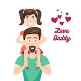 Vektor-Illustration des Kindes und des Vaters, der Vater sitzt auf seinen Schultern stock abbildung