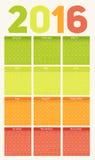 Vektor-Illustration des neues Jahr-Kalender-2016 Lizenzfreies Stockfoto