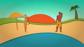 Vektor-Illustration des Sommers und des Strandes Stockfotografie