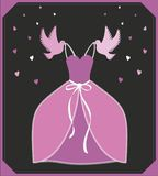 Vector illustration pink dress. Sign or poster for shop, advertisment or invitation. Cinderella - askungen inspiration. vector illustration