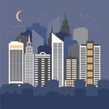 Vektor-Illustration einer Stadt nachts Stockbilder