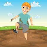 Vektor-Illustration eines Kindes, das im Schlamm spielt Lizenzfreies Stockfoto