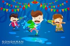 """Vektor-Illustration für """"Songkran† oder """"Water Festivalâ€- in Thailand und in vielen anderen Ländern in Südostasien stock abbildung"""