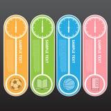 Vektor-Illustration, moderne Uhr-Fahne für Design und kreativ Stockfotos