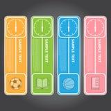 Vektor-Illustration, moderne Uhr-Fahne für Design und kreativ stock abbildung