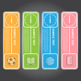 Vektor-Illustration, moderne Uhr-Fahne für Design und kreativ Stockfotografie