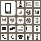 Vektor-Illustration, Satz der Kommunikations-Ikone für Design und Cr Lizenzfreie Stockfotos