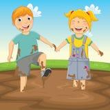 Vektor-Illustration von den Kindern, die im Schlamm spielen Lizenzfreies Stockbild