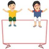Vektor-Illustration von den netten Kindern, die auf Re sitzen Stockfoto