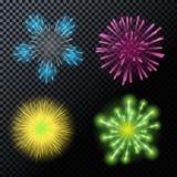 Vektor-Illustration von Feuerwerken, Gruß auf einem transparenten Backgr Stockfotos