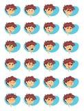 Vektor-Illustration von Jungen-verschiedenen Gesichtsausdrücken stockbilder