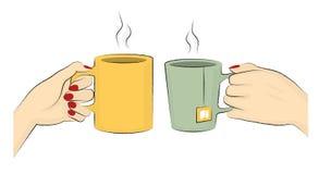 Vektor-Illustration von Kaffee-und Tee-Bechern Lizenzfreie Stockbilder