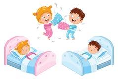 Vektor-Illustration von Kindern in den Pyjamas vektor abbildung