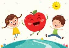 Vektor-Illustration von Kindern und von Frucht-Charakteren vektor abbildung