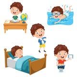 Vektor-Illustration von Kindertäglichen Routinetätigkeiten stock abbildung