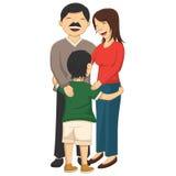 Vektor-Illustration von Little Boy, das Eltern umarmt Stockfotos