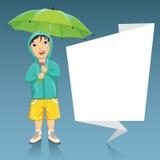 Vektor-Illustration von Little Boy, das Regenschirm nahe bei einer Origami-Fahne hält Stockbild