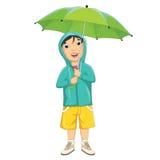 Vektor-Illustration von Little Boy unter Regenschirm Lizenzfreies Stockfoto