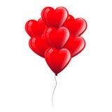 Vektor-Illustration von roten Herz-Ballonen Glückliche junge küssende und celabrating Paare Lizenzfreies Stockfoto