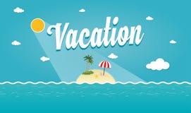 Vektor-Illustration von tropischer Sommerinsel Lizenzfreie Stockfotos