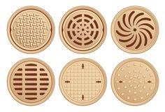 Vektor-Illustration von verschiedenen Bronzekanaldeckeln Stockfotografie