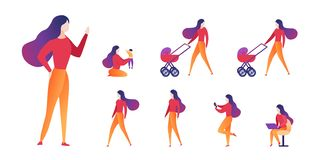 Vektor-Illustrations-auserlesene Mutterschaft und Karriere stock abbildung