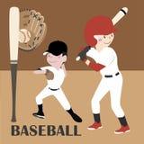 Vektor-Illustrations-Baseball-Spieler Stockfotos