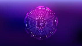 Vektor-Illustrations-futuristisches Design Bitcoin Cryptocurrency stock abbildung